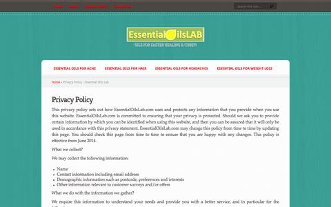 Screenshot of Privacy Page essentialoilslab.com - Privacy Policy - Essential Oils Lab - captured Oct. 30, 2014