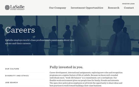 Screenshot of Jobs Page lasalle.com - Careers | LaSalle Investment Management - captured Jan. 22, 2016