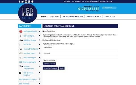 Screenshot of Login Page led-bulbs-online.co.uk - Customer Login - captured July 8, 2017