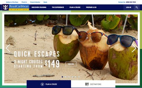 Screenshot of Home Page royalcaribbean.com - Welcome to Royal Caribbean International - captured Oct. 24, 2015