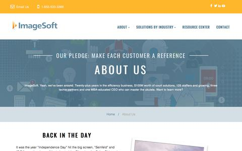 Screenshot of About Page imagesoftinc.com - ImageSoft | Make Each Customer a Reference - captured Jan. 12, 2018