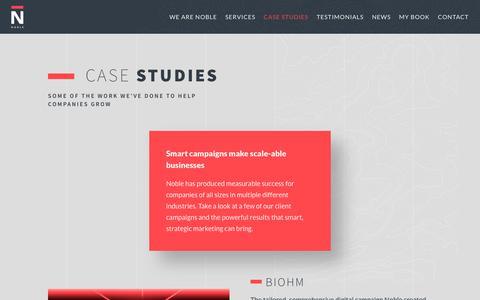 Screenshot of Case Studies Page nobledigital.com - Case Studies - Noble Digital - captured June 18, 2017