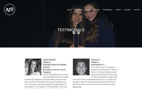 Screenshot of Testimonials Page jewishyouth.ca - Testimonials - JEWISH YOUTH NETWORK - captured Sept. 27, 2018