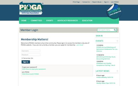Screenshot of Login Page pioga.org - Pennsylvania Independent Oil and Gas Association - captured Nov. 1, 2016