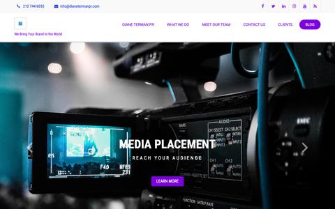 Screenshot of Blog dianetermanpr.com - Diane Terman Public Relations - We Bring Your Brand to the World - captured Oct. 9, 2018