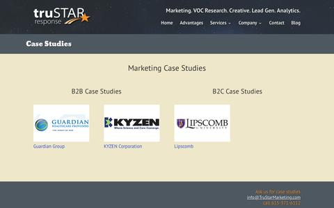 Screenshot of Case Studies Page trustarmarketing.com - Case Studies   TruStar Marketing - captured Feb. 27, 2016