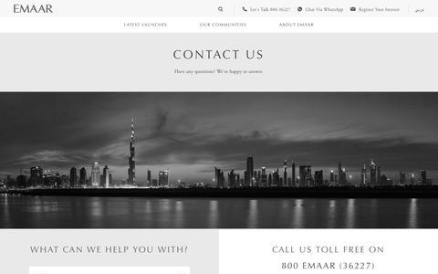 Screenshot of Contact Page emaar.com - Contact Us | Emaar Properties - captured Jan. 11, 2019