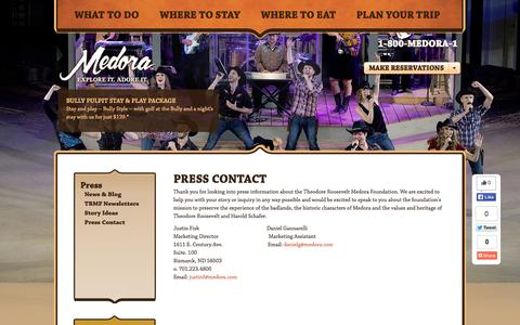 Screenshot of Press Page medora.com - Medora - Explore it. Adore it. | Press Contact - captured Nov. 5, 2014