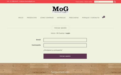Screenshot of Login Page merchantsofgold.com - Iniciar Sesión - Merchants of Gold - captured July 9, 2017