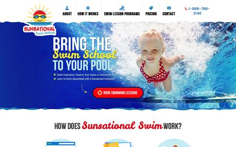 Screenshot of Home Page sunsationalswimschool.com - Private At-Home Swimming Lessons | Sunsational Swim School - captured Sept. 4, 2016