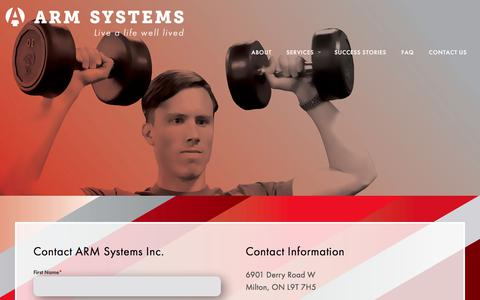 Screenshot of Contact Page armsystems.ca - Contact ARM Systems Inc. | Milton and Burlington - captured July 8, 2018