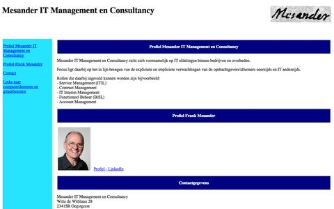 Screenshot of Home Page mesander.nl - Mesander IT Management en Consultancy - captured Oct. 6, 2014
