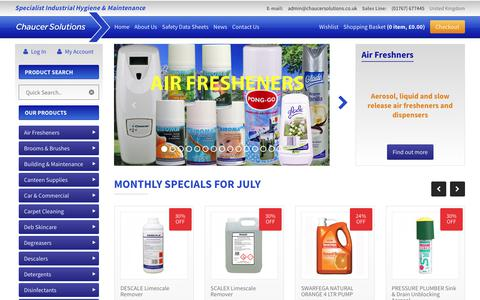 Screenshot of Home Page chaucersolutions.co.uk - Industrial and Commercial Cleaning Products, Supplies and Chemicals - captured July 25, 2017