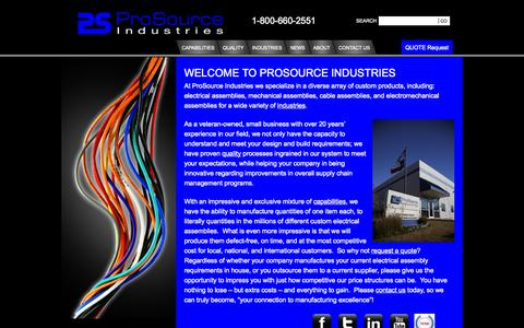 Screenshot of Home Page prosourceind.com - ProSource Industries - Electrical Assembly Manufacturers | Mechanical Assembly Manufactures | Electrical Assemblies | ProSource Industries - captured Oct. 3, 2014
