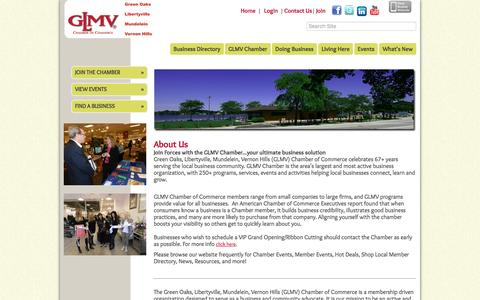 Screenshot of About Page glmvchamber.org - About Us - GLMV Chamber of Commerce, IL - captured Oct. 17, 2016