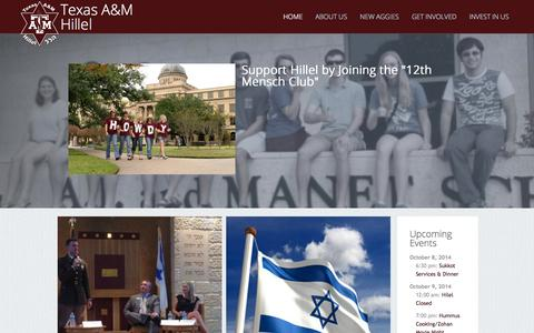 Screenshot of Home Page tamuhillel.org - Hillel at Texas A&M Hillel at Texas A&M » - captured Oct. 6, 2014