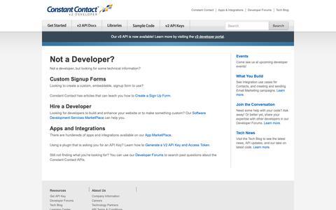 Screenshot of Developers Page constantcontact.com - Not a Developer? | Constant Contact Developer - captured June 18, 2019