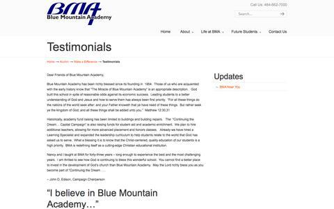Screenshot of Testimonials Page bma.us - Testimonials «  Blue Mountain Academy - captured Sept. 26, 2014
