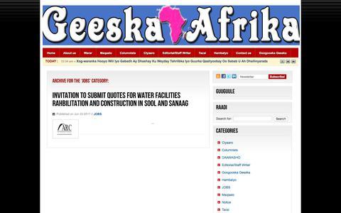 Screenshot of Jobs Page geeska.net - JOBS  –  Geeska Afrika Newspaper     Hargeisa, Somaliland - captured June 22, 2017
