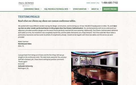 Screenshot of Testimonials Page custom-conference-tables.com - Custom Conference Table Testimonials | Paul Downs - captured Sept. 27, 2018