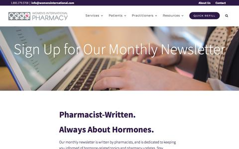Screenshot of Signup Page womensinternational.com - Newsletter Sign Up | Women's International Pharmacy - captured Nov. 5, 2019