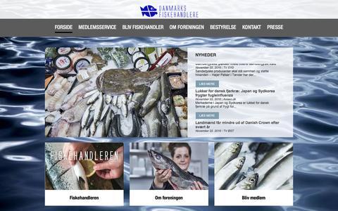 Screenshot of Home Page fiskehandlerne.dk - Velkommen til Danmarks Fiskehandlere - captured Nov. 23, 2016