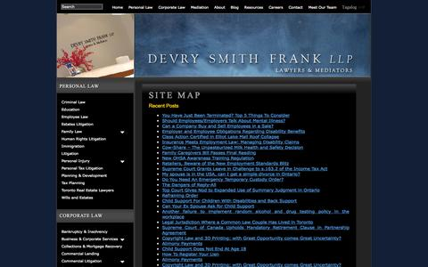 Screenshot of Site Map Page devrylaw.ca - Site Map   Devry Smith Frank LLP - captured Oct. 5, 2014