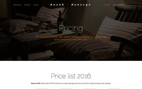 Screenshot of Pricing Page susak.si - Pricing — Susak - Sansego - captured Feb. 26, 2016