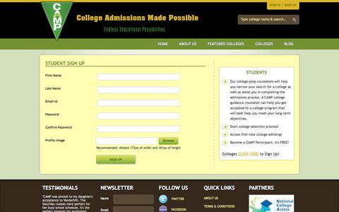 Screenshot of Signup Page campcollege.org - College Admissions Made Possible - captured Oct. 22, 2014