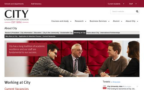 Screenshot of Jobs Page city.ac.uk - Working at City | City, University of London - captured March 12, 2017