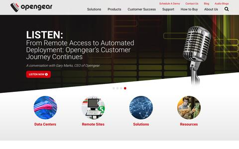 Screenshot of Home Page opengear.com - Secure Remote Access & IT Infrastructure Management - captured Oct. 28, 2017