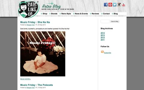 Screenshot of Blog catslikeus.com - Blog - Retro fashion, lifestyle, culture, food, and cocktail recipes - captured Sept. 29, 2014