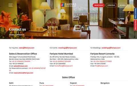 Screenshot of Contact Page fariyas.com - Contact us - Fariyas Group - captured Oct. 8, 2019