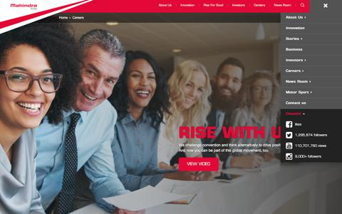 Screenshot of Jobs Page mahindra.com - Careers & Job Opportunities at Mahindra Rise - captured June 20, 2018