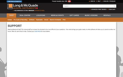 Screenshot of Support Page long-mcquade.com - Canada's Music Store, Musical Instruments | Long & McQuade - captured Sept. 22, 2018