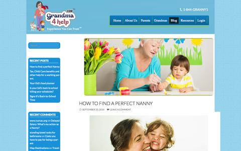 Screenshot of Blog grandma4help.com - Grandma4Help | How to find a perfect Nanny - captured Oct. 3, 2014