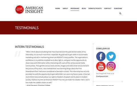 Screenshot of Testimonials Page americaninsight.org - Testimonials - American Insight - captured Nov. 6, 2018