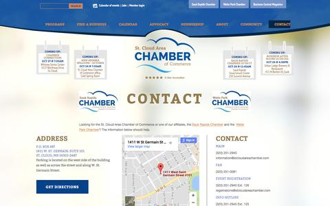 Screenshot of Contact Page stcloudareachamber.com - St. Cloud Area Chamber of Commerce - Contact - captured Oct. 23, 2017