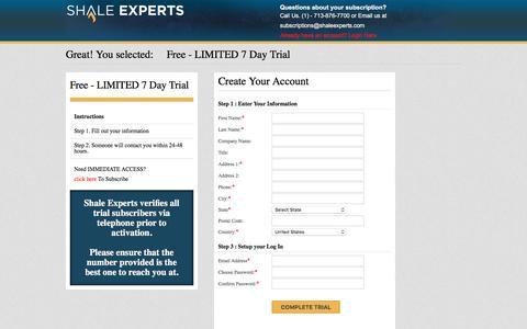 Screenshot of Trial Page shaleexperts.com - Shale Experts -   Member Subscription - captured Dec. 21, 2016