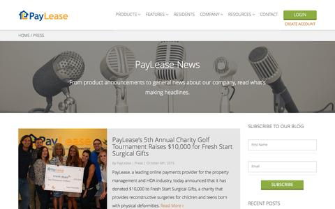 Screenshot of Press Page paylease.com - News & Press Releases | PayLease - captured Nov. 11, 2015