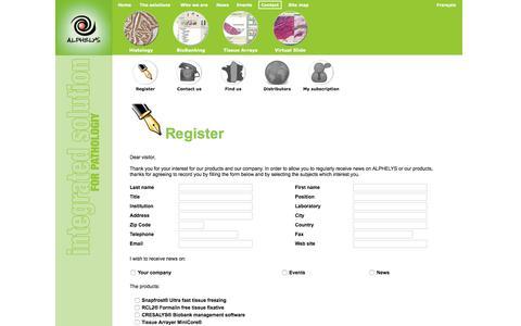 Screenshot of Contact Page alphelys.com - S'enregistrer - captured July 23, 2016