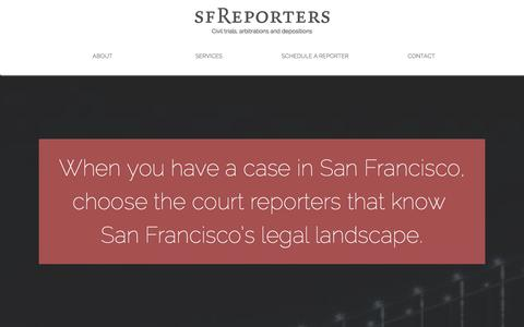 Screenshot of Home Page sf-reporters.com - SF Reporters - San Francisco Certified Court Reporters - captured Dec. 19, 2015
