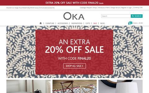 Screenshot of Home Page okadirect.com - Luxury Furniture & Classic Home Accessories - OKA Direct - captured Jan. 15, 2016