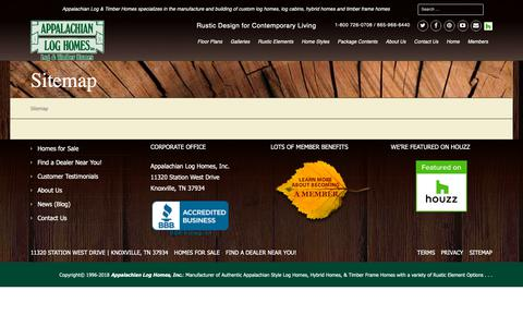 Screenshot of Site Map Page alhloghomes.com - Sitemap - Appalachian Log & Timber Homes - Rustic Design for Contemporary Living. - captured Nov. 12, 2018