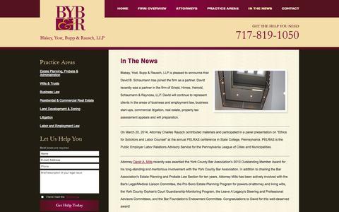 Screenshot of Press Page blakeyyost.com - In The News | Blakey, Yost, Bupp & Rausch, LLP | York, Pennsylvania - captured Oct. 5, 2014