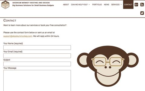 Screenshot of Contact Page Support Page skookummonkey.com - Contact - Skookum Monkey Hosting and Design - captured Feb. 1, 2018