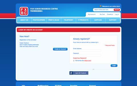 Screenshot of Login Page fxshop.com.au - Customer Login - captured July 6, 2018