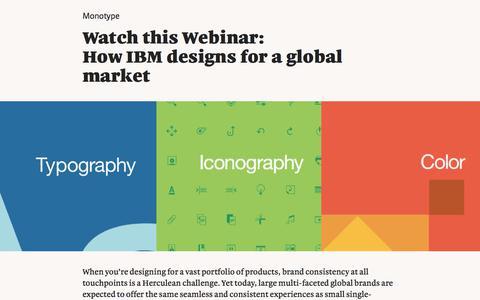 Screenshot of Landing Page monotype.com - Webinar: IBM Designs for  Global Market   Monotype - captured Sept. 19, 2018