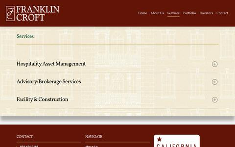 Screenshot of Services Page franklincroft.com - Services - Franklin Croft Hospitality - captured Oct. 14, 2017