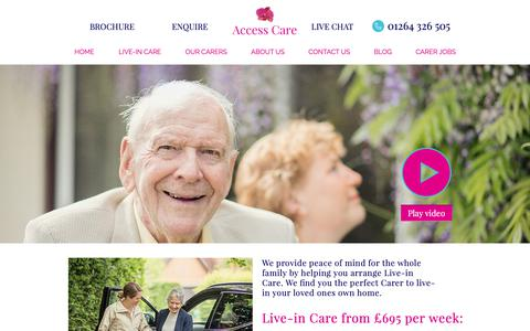 Screenshot of Home Page access-care.co.uk - Live-In Care | Access Care - captured Dec. 17, 2018